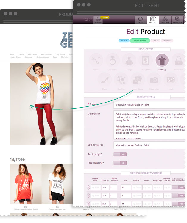 SupaDupa Backoffice examples - edit product page