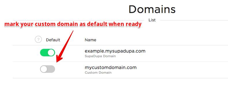 Mark domain as Default