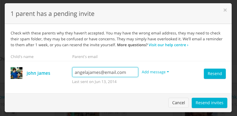 Change a parents email address storypark docs if the original invitation has already been accepted stopboris Choice Image