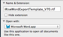 Export to Document Only Opens in TextEdit   iRise Help Center