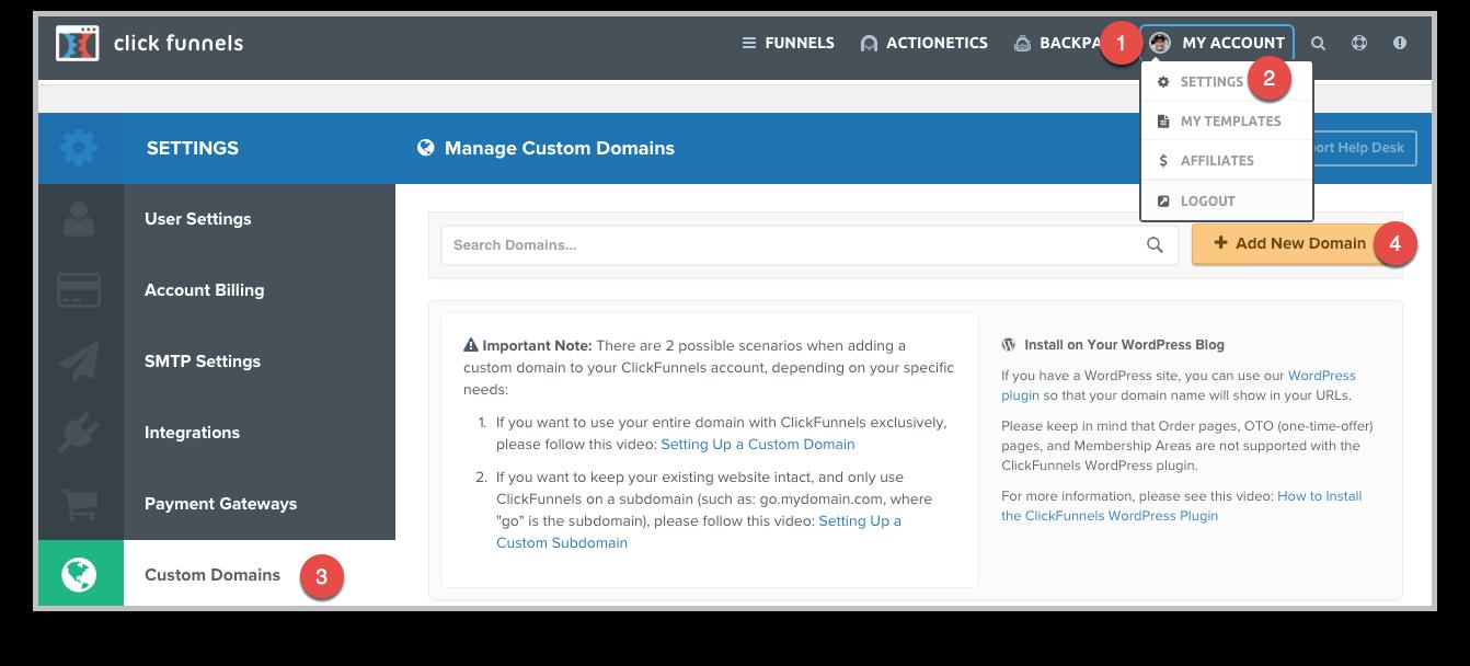 Clickfunnels Custom Domain Setup