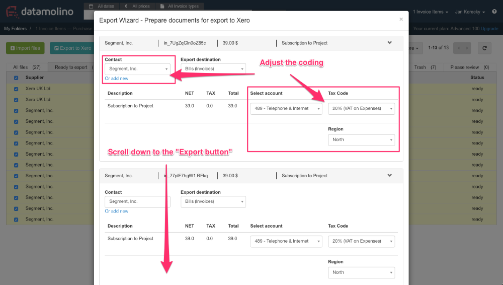 Export Data As Purchase Bills Or Sales Invoices Datamolino - Scan invoices into xero