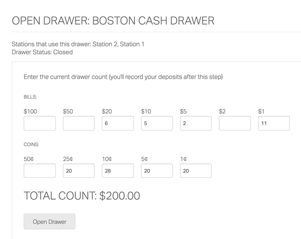 cash drawer check out sheet