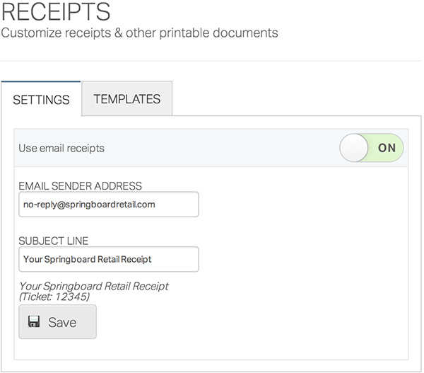 setting up printed receipts and email receipts springboard retail