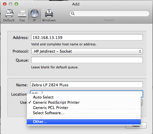 Mac OSX: Configuring and Printing Labels with a Zebra LP 2824 Plus