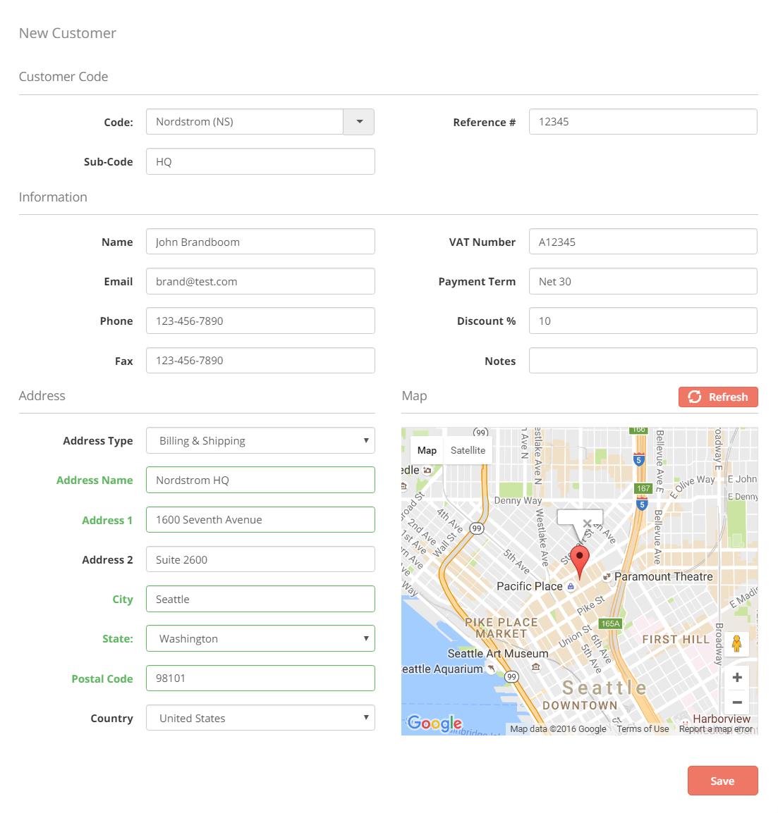 sample customer information form