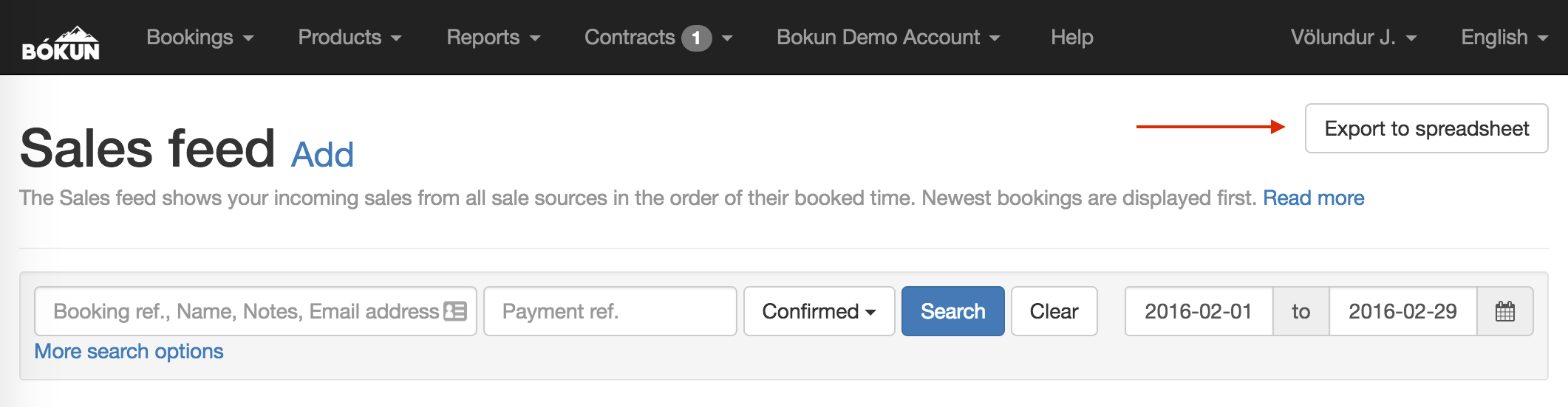 how to export the sales feed to a spreadsheet bókun help center