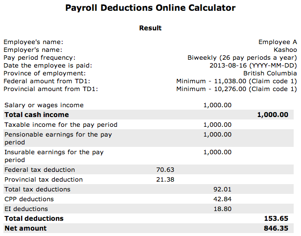 payroll deduction calculator 2018