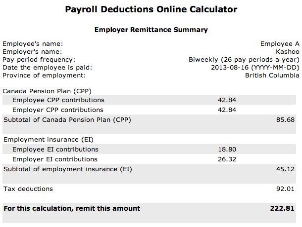 Entering Payroll Deductions - Canada | Kashoo Help Center