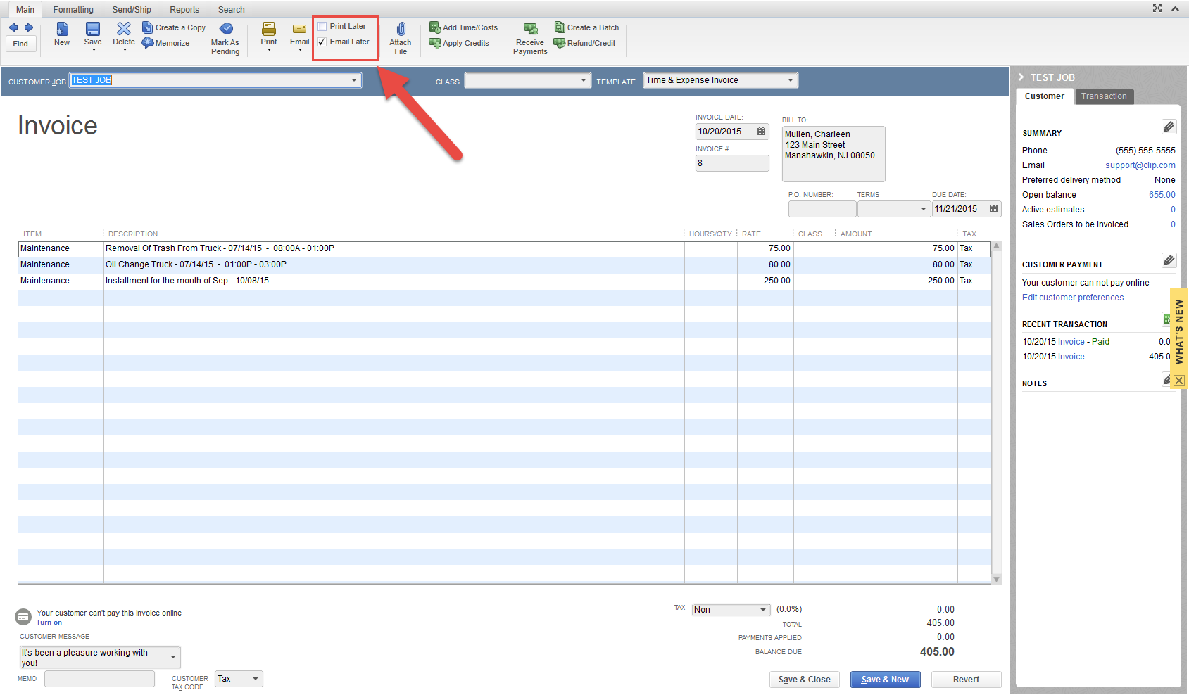 QCLIPxe Setting Invoices To Transfer As Email Later Or Do Not - Quickbooks invoice email
