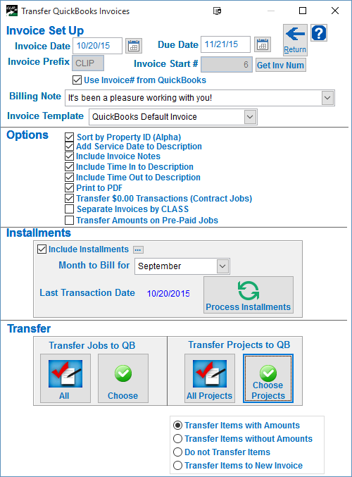 QCLIPxe Transferring Invoices To QuickBooks CLIP Software Help Center - Quickbooks invoice installments