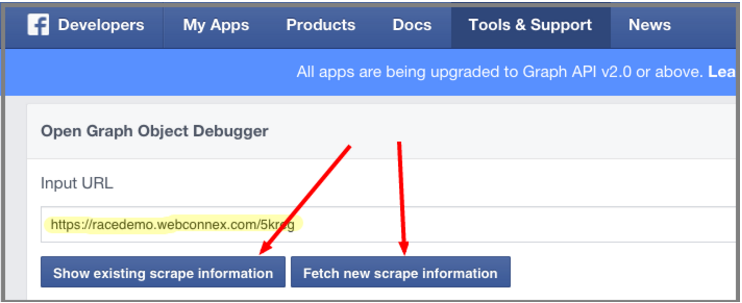 Share Your Updated Image or Text (Facebook Debugger)   Help Docs