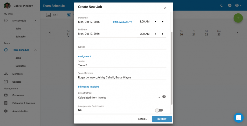 Complete the Job Record Fields