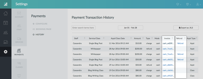 track payment history and refund deleted appointments support