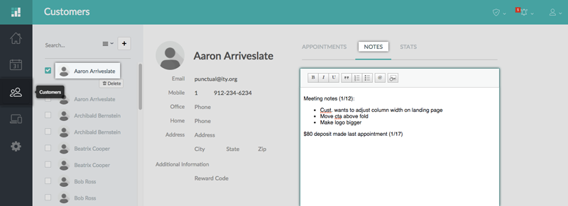 Customer Notes, Stats, and Appointment History   Support - Setmore