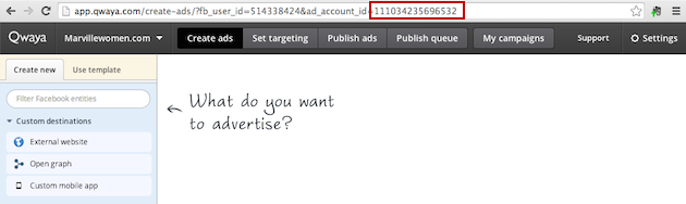 Ad account ID in URL April 2014