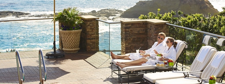 Couple Lounging by Spa Pool