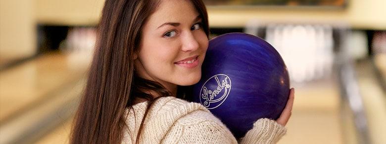 Girl Bowling at Daly's Pub & Rec