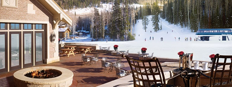 Apex Deer Valley Restaurant Patio Overlooking Ski Slopes