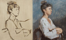 Sight-Size Portrait Painting With Hands: Composition and Initial Block-in