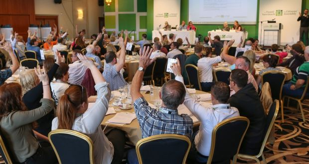 Members of the Citizens' Assembly vote on the wording of the ballots that were to be subsequently voted on, in the Grand Hotel, Malahide, Co Dublin
