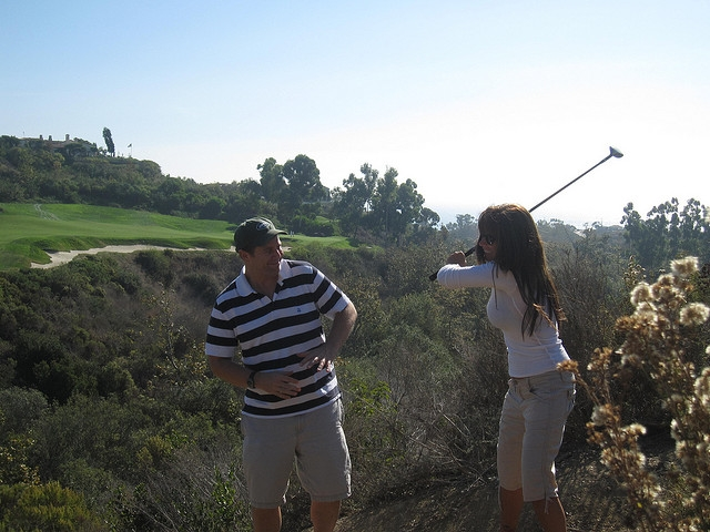 Industry icons Shawn Collins and Missy Ward golfing.   Kinda.