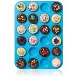 Lucentee® Large Mini Muffin Pans - 24 Cup Jumbo Silicone Pan for Cupcakes and Premium Baking- Non Stick Tray / Bakeware - Silicon Mold, Heat Resistant up to 450°F - Dishwasher and Microwave Safe - Blue - Kitchen Things