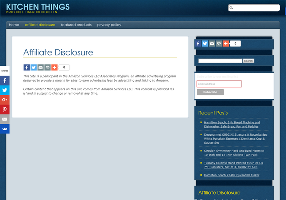 Affiliate Disclosure - Kitchen Things