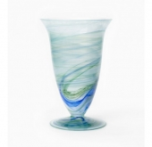 Vietri Alabaster Aquamarine Glass Large Footed Vase | Belle and June