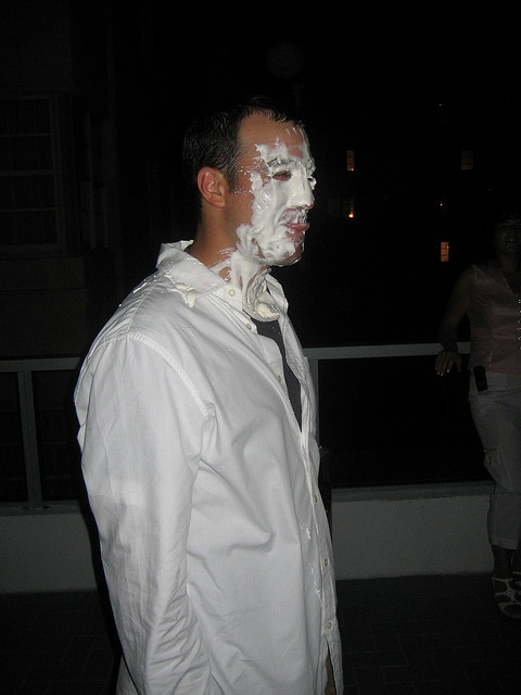 I got a pie in the face... this was somehow part of the planned party.