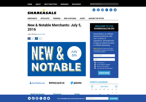 New & Notable Merchants: July 5, 2016 - ShareASale Blog