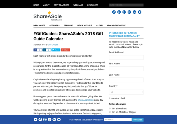 #GiftGuides: ShareASale's 2018 Gift Guide Calendar