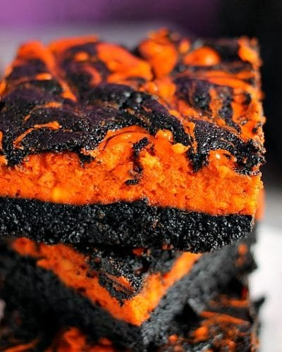 Halloween Swirl Cream Cheese Brownies - Persnickety Plates