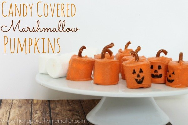 Candy Covered Marshmallow Pumpkins - The Happier Homemaker