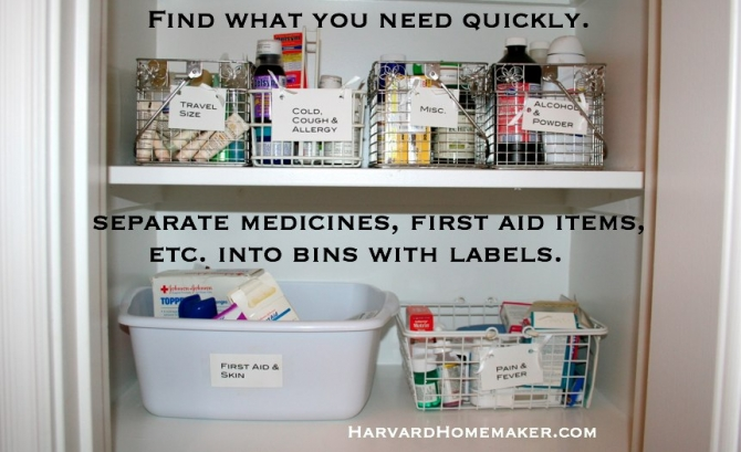 and you need to locate some first aid items in a hurry  By simply  grouping your items and labeling your bins  you will locate what you need  in a snap 100  Ideas to Help Organize Your Home and Your Life   Harvard  . Things You Need For Your First Bathroom. Home Design Ideas