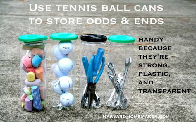 Use Tennis Ball Cans For Easy To See Storage