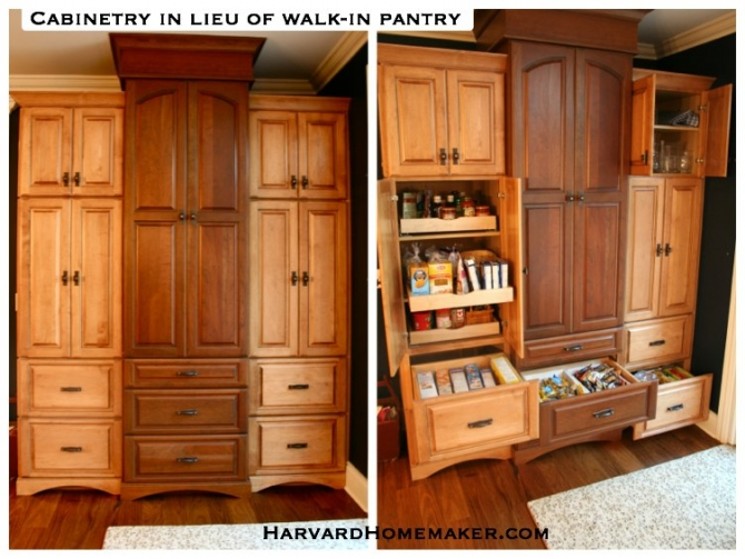 Medium image of cabinets and drawers for compartmentalized storage in lieu of walk in pantry