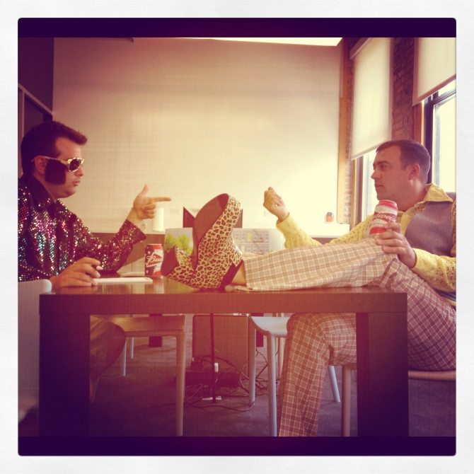 ShareASale CEO Brian Littleton and Sales Wizard Nick Marchese brainstorming ideas for the ShareASale Disco