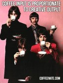 The Beatles Drinking Coffee