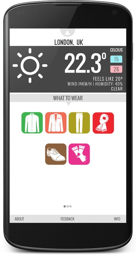 Wearther-mobile-app-for-weather-forecast-and-apparel-suggestion