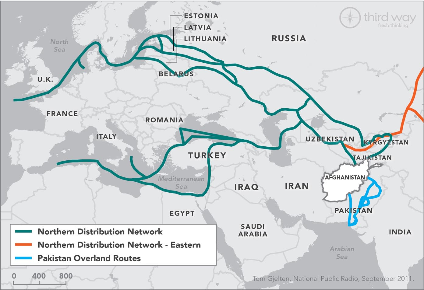 NATO Overland Routes In and Out of Afghanistan