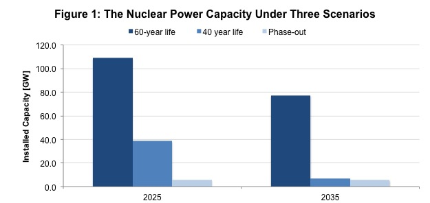 Figure 1: The Nuclear Power Capacity Under Three Scenarios
