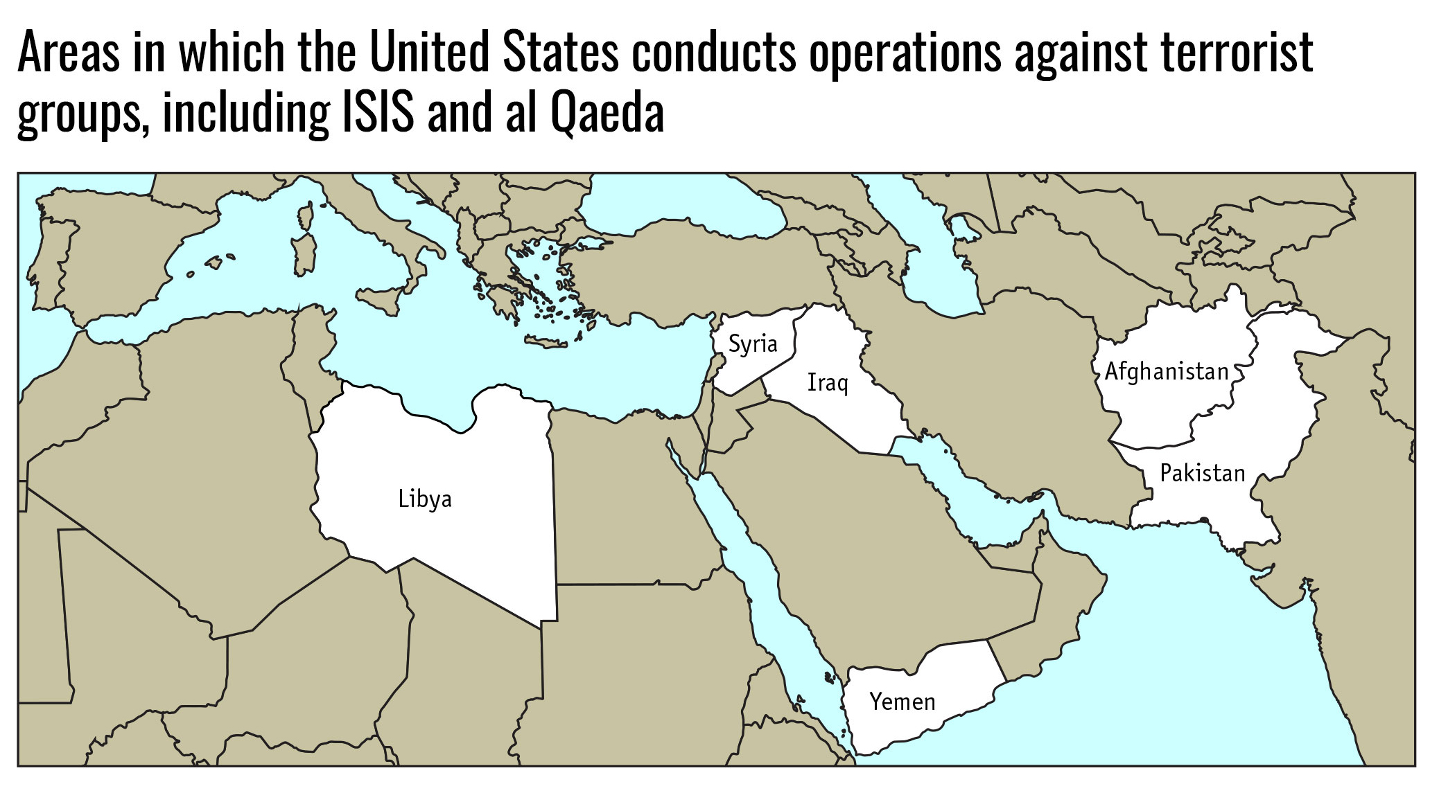 Areas in which the United States conducts operations