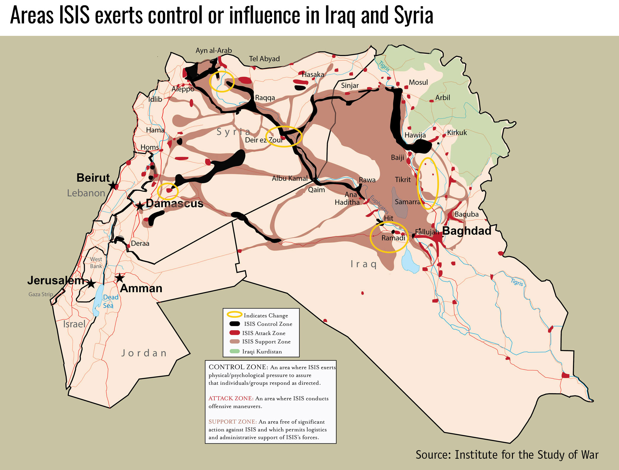 Areas ISIS exerts control or influence in Iraq and Syria