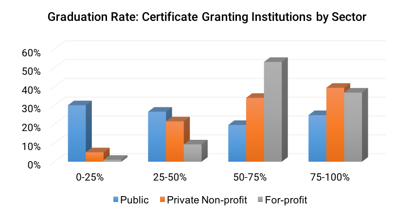 Graduation Rate- Less than 2-year Institutions by Sector