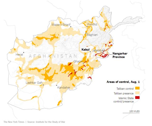 Areas of Taliban Control