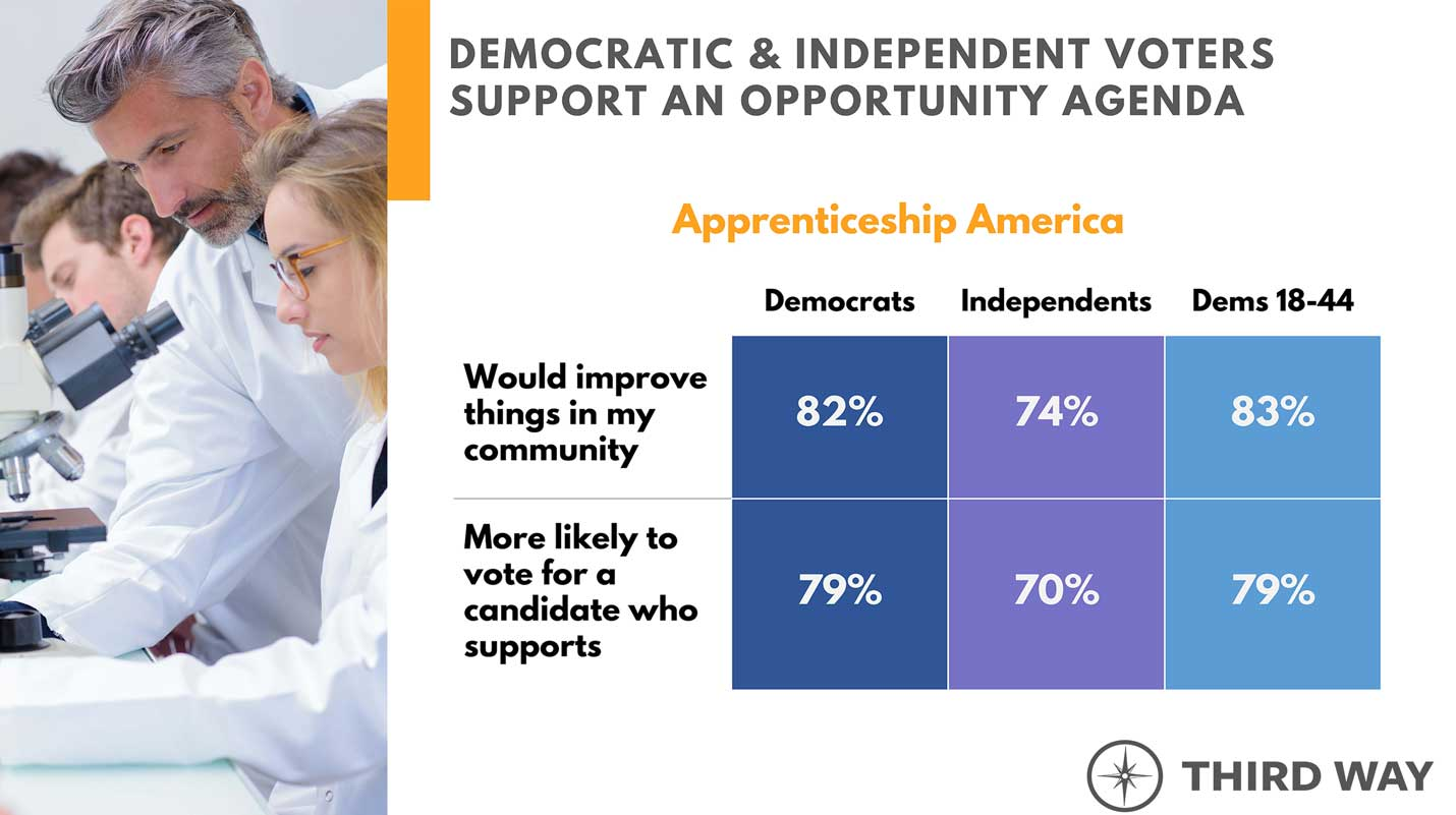 Democratic and independent voters support Apprenticeship America