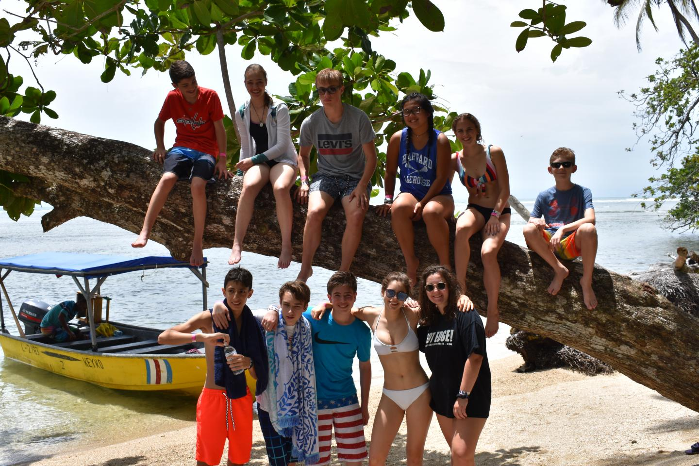 Younger teens climb a tree on their student tour of Costa Rica.