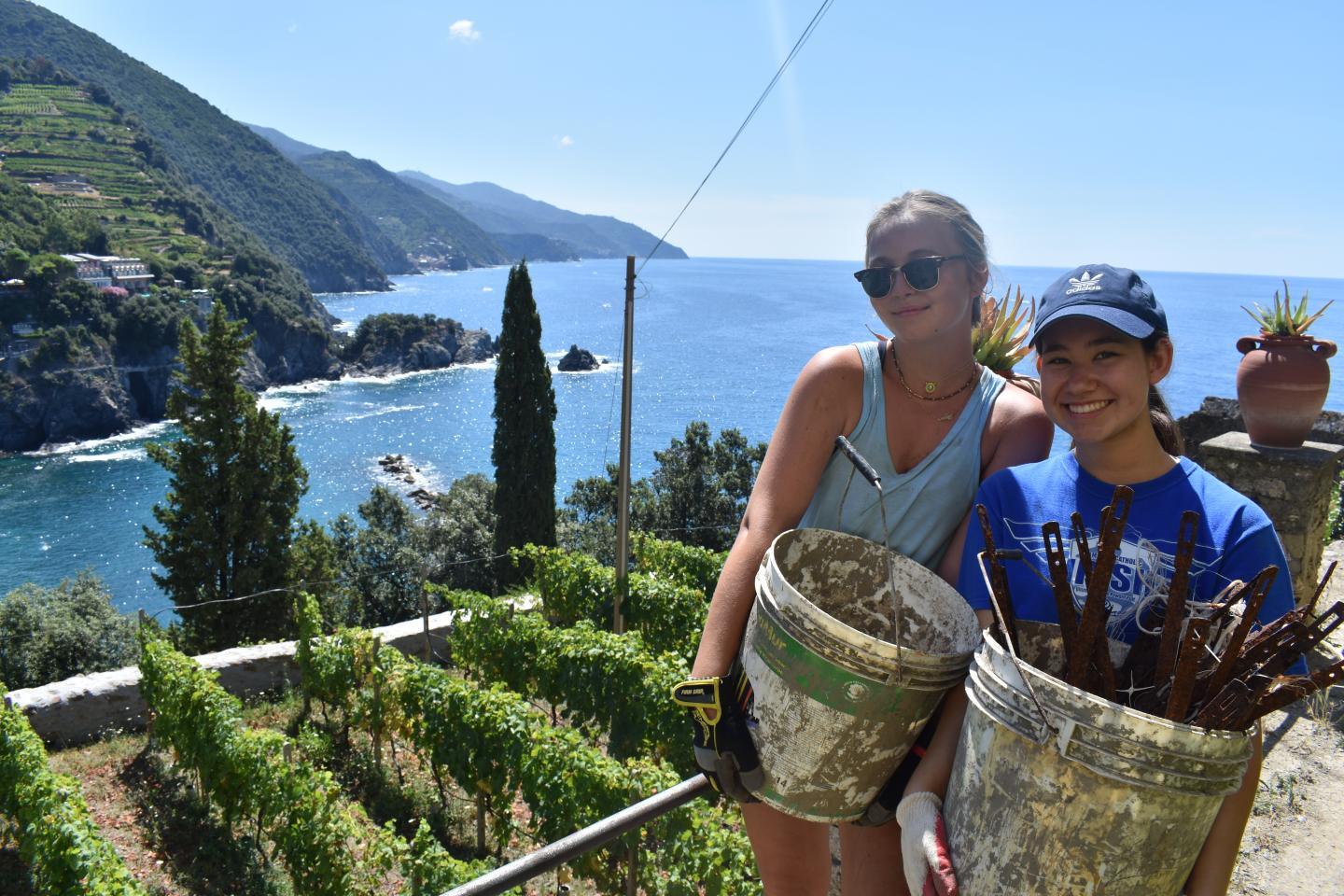 High school students complete service on the Cinque Terre on their summer teen tour to Italy.