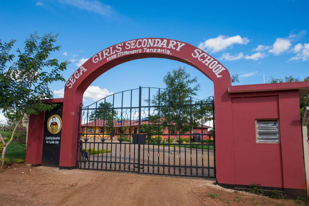 The entrance to the school in Tanzania where students participate in a teen summer service program.